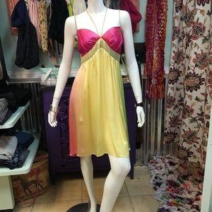 VOOM 100% silk colorful party dress sz L